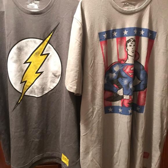 1330577f Under Armour Shirts   Dc Comics Superman Flash   Poshmark
